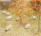Sheep and Autumn Trees