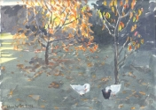 Geese and Autumn Leaves